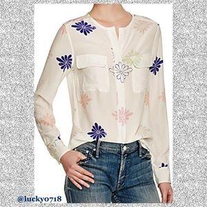 Equipment White Multi Lynn Floral Silk Top Sz S